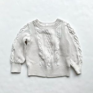 BabyGap Ivory cable knit crew neck sweater EUC 4T